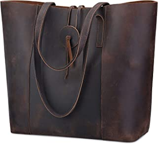 Vintage Genuine Leather Tote Bag for Women Large Shoulder Purse Handbag