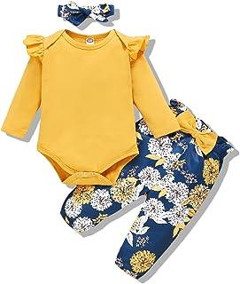 Renotemy 新生児 女児 服 アウトフィット 幼児 ロンパース フリル付きワンジー 花柄パンツ かわいい幼児 ベビーガール服セット US サイズ: 3-6 Months