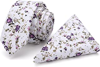 100% Cotton Handmade Skinny Floral Tie with Pocket Square Gift Set