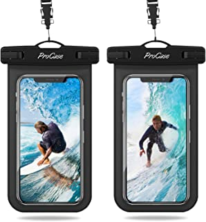 """Procase Universal Waterproof Pouch IPX8 Waterproof Cellphone Dry Bag Underwater Case for iPhone 11 Pro Max Xs Max XR X 8 7 6S+ SE 2020, Galaxy S20 Ultra S10 S9 S8/Note10+ 9 8 up to 6.9"""" -2 Pack, Black"""