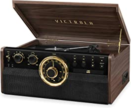 Victrola 6-in-1 Wood Bluetooth Mid Century Record Player with 3-Speed Turntable, CD, Cassette Player and Radio