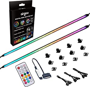 NEON Addressable RGB PC LED Strip Kit, WS2812B RGBIC Rainbow Magnetic ARGB Strip for 5V 3-pin Aura SYNC, Gigabyte RGB Fusion, MSI Mystic Light Sync, with 12pcs Strong Magnetic Brackets and Controller