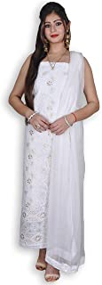 OFF-WHITE COTTON SUIT & CHIFFON DUPATTA WITH CHIKANKARI & GOTA-PATTI WORK