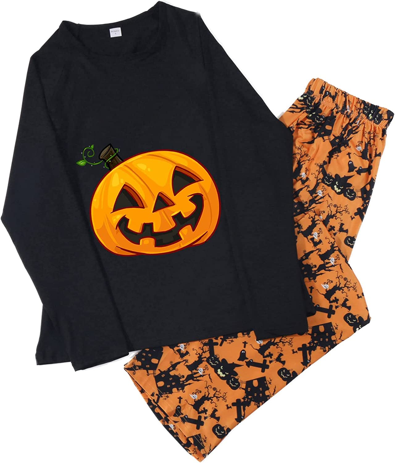 Halloween Pajamas Womens Tops Matching Family Pumpkin Print Outfits Sleepwear Set for Adult and Kids