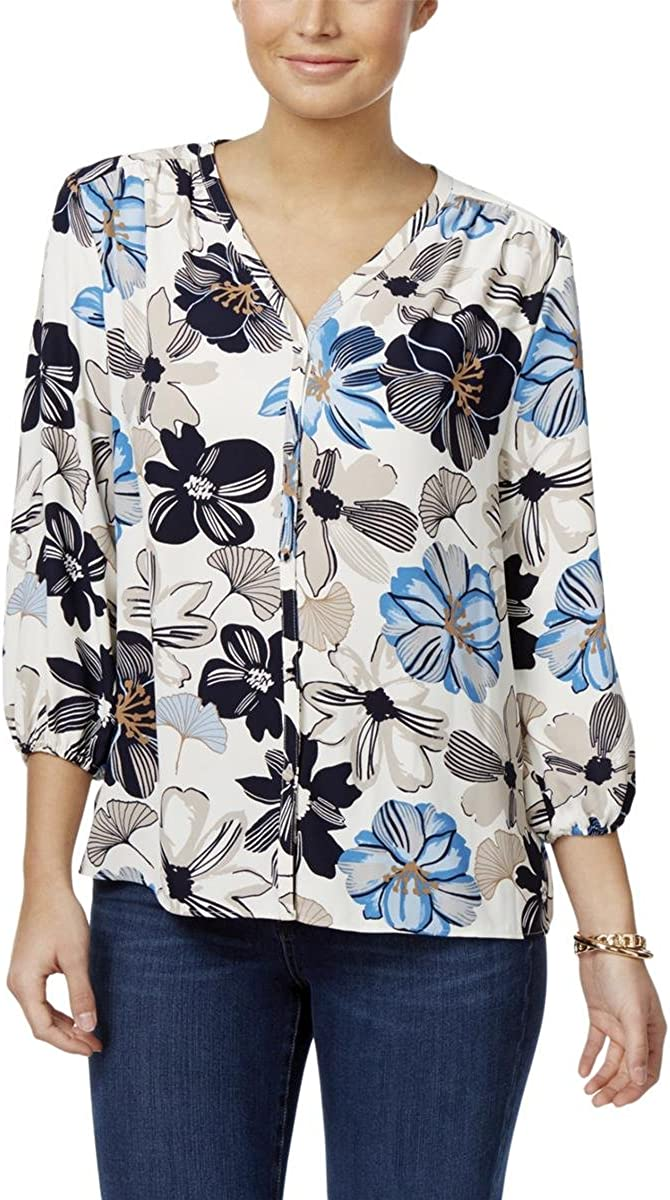 Charter Club Womens Floral-Print V-Neck Blouse