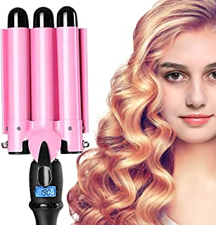 Professional 3 Barrel Curling Iron 1 inch Hair Waver Iron 25mm Fast Heating Hair Curler with LCD Display Temperature Adjustable