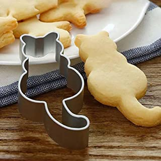 Cute Cat Shaped Aluminium Mold Sugarcraft Cake Cookies Pastry Baking Cutter Mould Cookie Cutters Mould Decorating Tool (Silver)