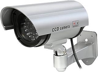 كاميرا دمية للمراقبة الأمنية CCTV من Rosewill ، مع ملصق تحذير للأمان بإضاءة LED