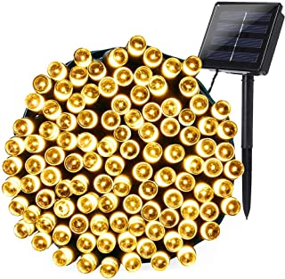 Joomer Solar Christmas Lights, 72ft 200 LED 8 Modes Solar String Lights, Waterproof Solar Fairy Lights for Garden, Patio, Home, Wedding, Party, Christmas Decorations (Warm White)
