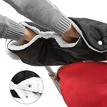 TBoonor Kinderwagen Handschuhe Handwärmer Kinderwagenmuff Funktions-Handmuff mit Fleece Innenseite, Universalgröße für Kinderwagen, Buggy, Jogger, Radanhänger Schwarz/Weiß