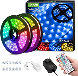 50ft LED Strip Lights, Ultra-Long RGB 5050 LED Strips with Remote Controller and Fixing Clips, Color Changing Tape Light with 12V ETL Listed Adapter for Bedroom, Room, Kitchen, Bar(2 X 24.6FT)