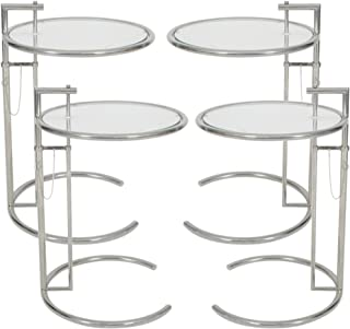 Eileen Gray End Table (Set of 1/2/3/4). Adjustable Height Table, Safe Tempered Circle Leveled Glass Top, Stainless Steel Tubular Frame for Firm & Durability, Metal Side Table. Easy to Move (Set of 4)