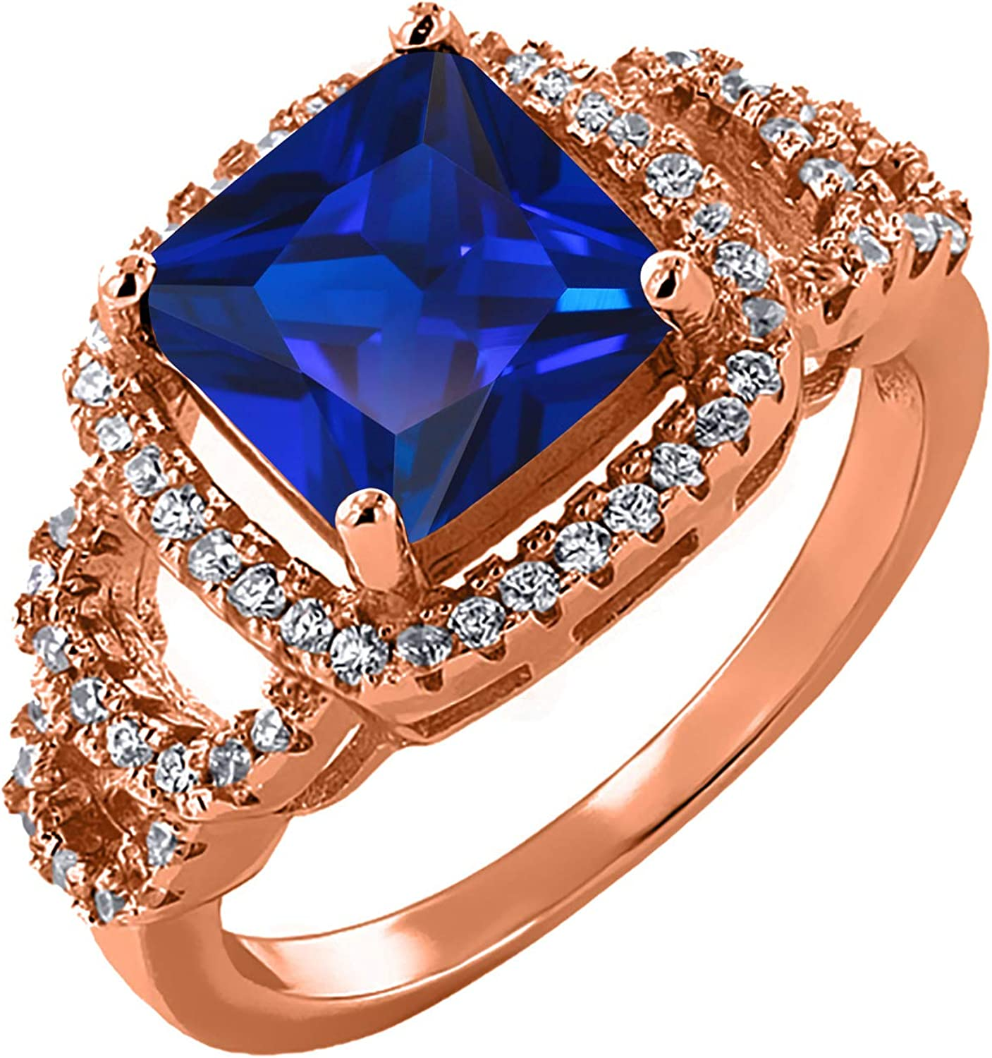 Gem Stone King 3.80 Ct Princess 18K Created G Financial sales sale Rose Sapphire Discount is also underway Blue