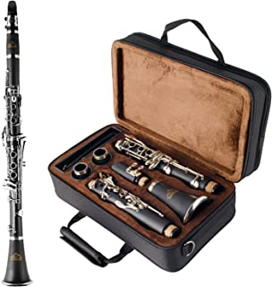 EASTROCK Clarinet Bb Flat 17 Nickel Keys Student Clarinet with 2 Barrels,Case,Stand,Clarinet Care kit(Black)