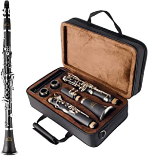 EASTROCK Clarinet Bb Flat 17 Nickel Keys Student Clarinet with 2 Barrels,Hard Case,Stand and Clarinet Cleaning Kit(Black C...