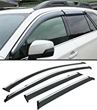 Fits for 2015-2019 Subaru Outback Clip on Type Smoke Tinted Side Door Window Visor W/Chrome Trim