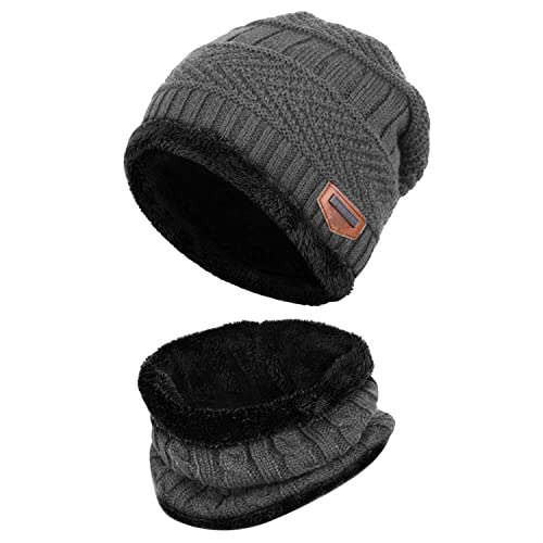 e95fb2b13fd Fantastic Zone 2-Pieces Winter Beanie Hat Scarf Set Warm Knit Hat Thick Fleece  Lined