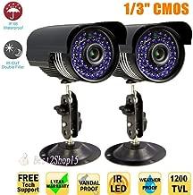 2 x 1200TVL CCTV Surveillance Security Day Night 3.6mm Outdoor Waterproof Camera