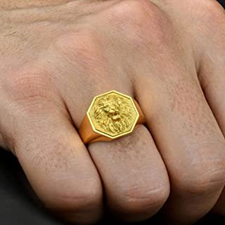 Lion Face Ring Lion of judah rasta ring jewish tribe ring solid 925 sterling silver jewelry yellow gold plated ring family crest signet ring Mens Lion Signet Ring fathers day gift ring
