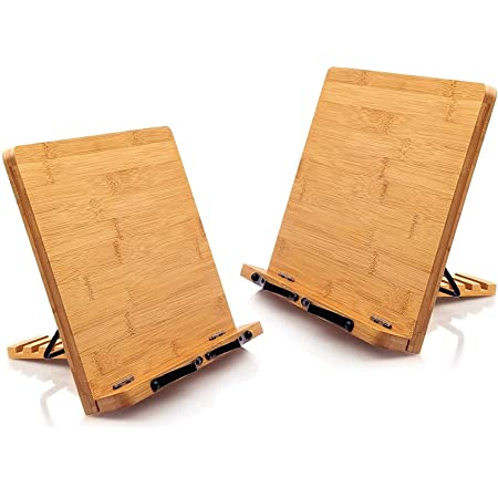 Bamboo Book Stand Cookbook Holder Large Reading Stand with 5 Adjustable Height, Portable and Foldable Bookstands for Textbook, Recipe, Music Book, Laptop, Tablet by Pipishell (2 Pack)