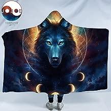 Dream Catcher by JoJoesArt Lunar Wolf Sherpa Hooded Blanket Celestial Space Fleece Throw Blanket Fantasy Animal Blanket with Hood (Adults 60x 80)