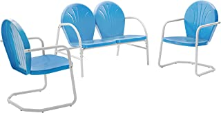 Crosley Furniture Griffith 3-Piece Metal Outdoor Conversation Set with Loveseat and 2 Chairs - Sky Blue
