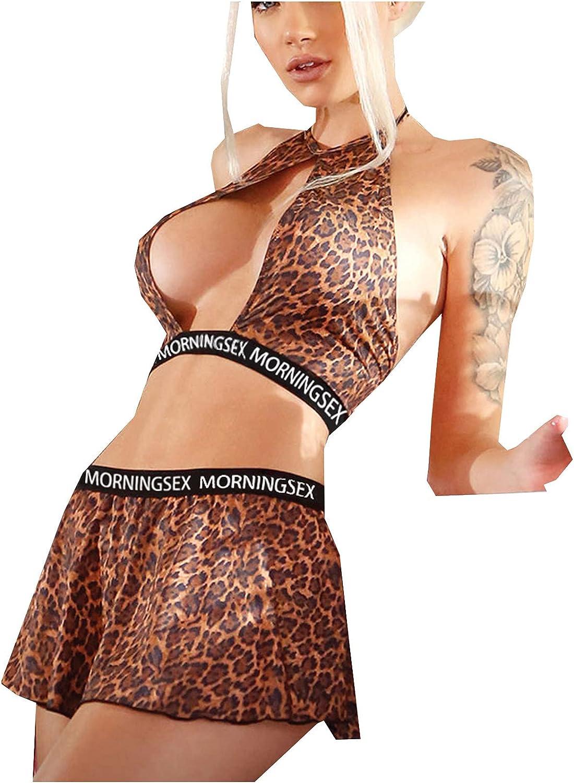 Lingerie for Women Sexy Pajamas Set Fashion 2 Pieces Sexy Leopard Printed Sleepwear Underwear Suit Clubwear