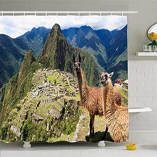 Ahawoso Shower Curtain 66x72 Inches Terrace Blue Macchu Llama Historic Lost City Machu Picchu Wildlife Peru Holidays Pichu Waterproof Polyester Fabric Bathroom Curtains Set with Hooks