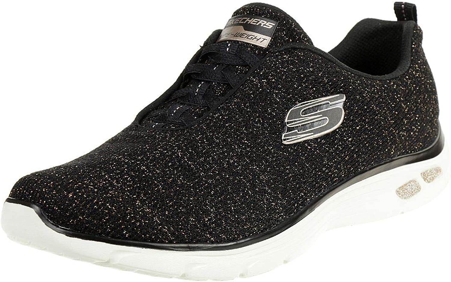 Skechers Womens Empire D'Lux - Burn Bright Bungee Slip On Air Cooled Memory Foam shoes Black gold Size UK 7 EU 40