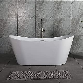WOODBRIDGE B-0010/BTA1515 67'' Freestanding Bathtub B-0010 with Brushed Nickel Overflow& Drain, 67