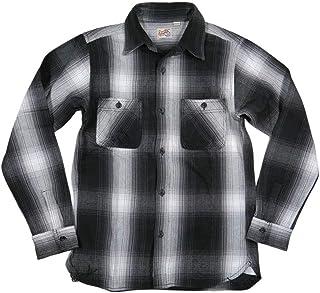 [ヒューストン] マチ付 長袖 オンブレチェック ヘビーネルシャツ 40763