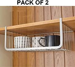 Callas Set of 2 Under Shelf Basket Wire Rack Slides Under Shelf, Kitchen Organizer, Silver, Large