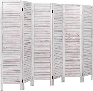 Giantex 6 Panel Wood Room Divider Screen, 5.6 Ft Tall Oriental Folding Freestanding Partition Privicy Room Divider for Home, Office, Restaurant, Bedroom (White)