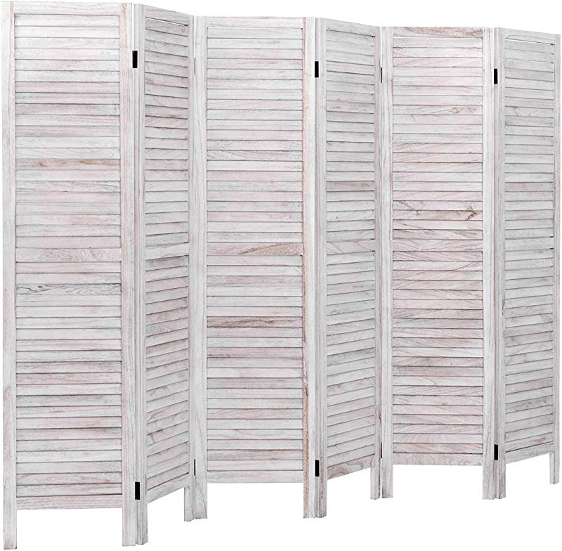 Giantex 6 Panel Folding Room Divider Screen 6 Ft Tall Wood Oriential Freestanding Partition Privicy Room Divider For Home Office Restaurant Bedroom White