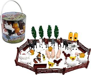 SCS Direct Farm Animal Action Figures - Big Bucket of Farm Animals - 50Piece in Set!