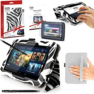 ORZLY - TESCO HUDL 2 Tablet Case with Built-In Hand Strap & Integrated Stand - Limited Edition ZEBRA Case / Cover / Skin with Built-In PropUp Stand ( Dual Angle for Viewing & Typing Positions ) - designed by ORZLY exclusively for Tesco Hudl 8.3 inch Tablet ( Tesco's 2nd Tablet - Released in 2014 ) Case includes BONUS: ORZLY Stylus Pen & 2x Sceen Protectors