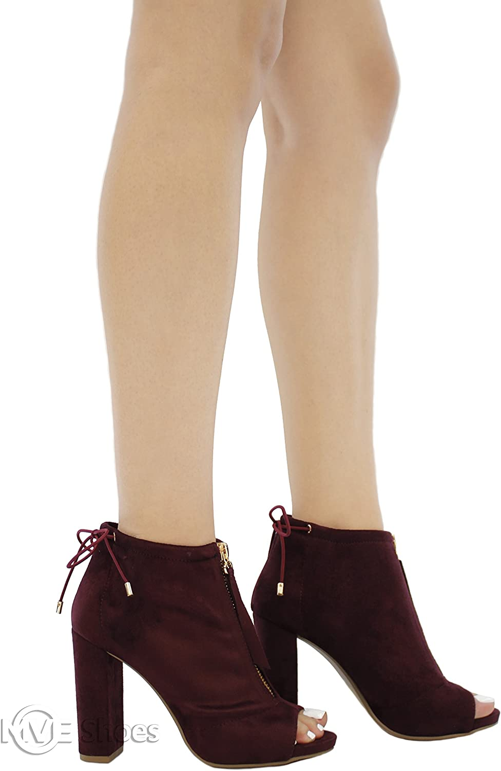 MVE shoes Womens Open Toe Ankle Bootie Front Zip Chunky Heel Nice Boots
