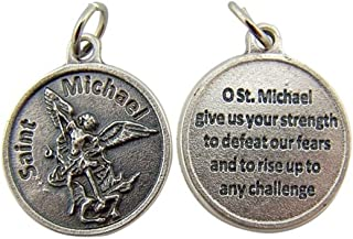 Religious Gifts Silver Toned Base Catholic Saint Medal with Prayer Protection Pendant, 3/4 Inch