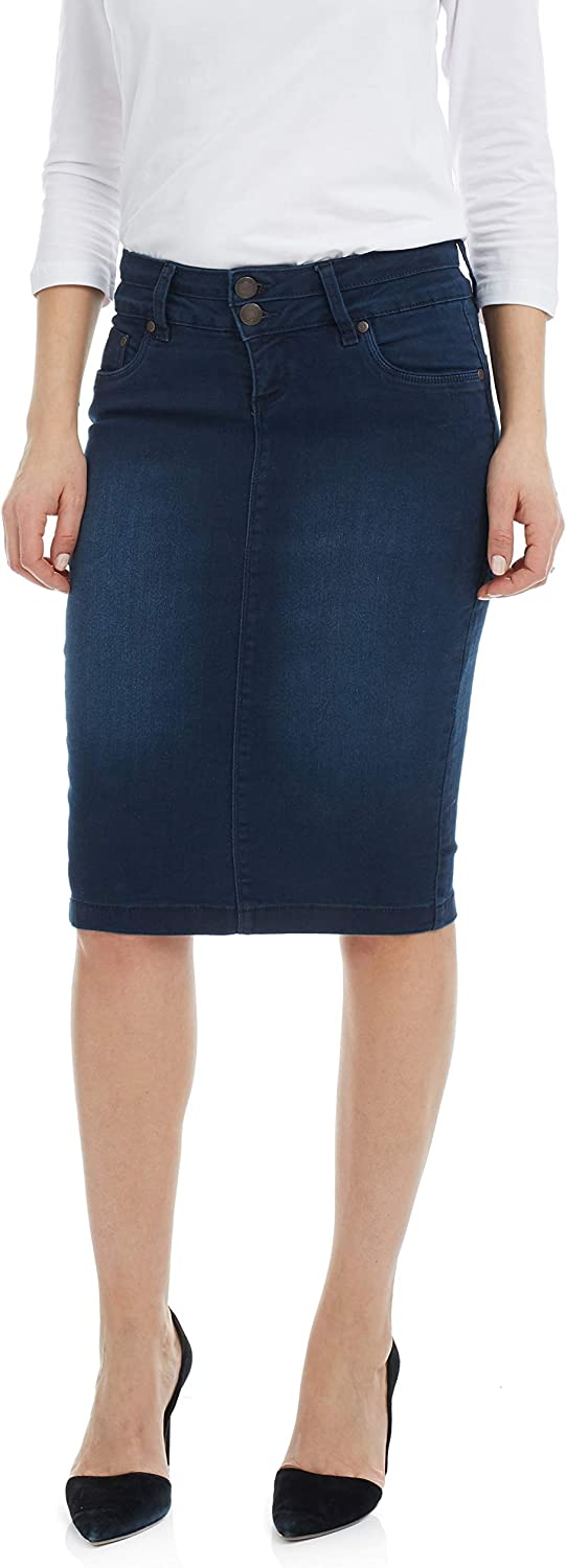 Esteez Women's Denim Pencil Skirt – Knee Length  Stretch Jean  Beverly Hills