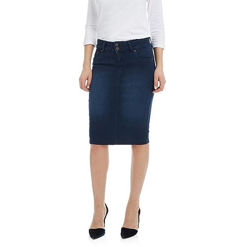 f1e8557a01 Esteez Women's Denim Pencil Skirt – Knee Length - Stretch Jean - Beverly  Hills