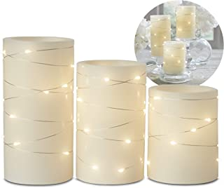 Candle Flameless LED with Timer (3x4, 3x5, 3x6) 3pc with Embedded String Lights LED