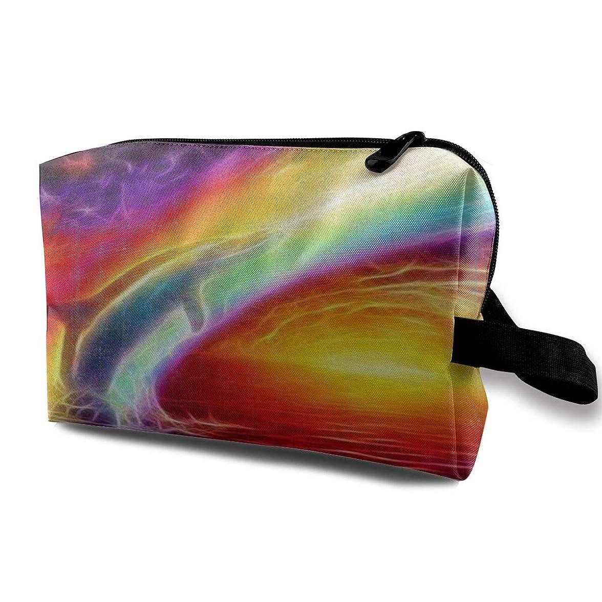 合わせて作物法律Art Dolphin Rainbow 収納ポーチ 化粧ポーチ 大容量 軽量 耐久性 ハンドル付持ち運び便利。入れ 自宅?出張?旅行?アウトドア撮影などに対応。メンズ レディース トラベルグッズ