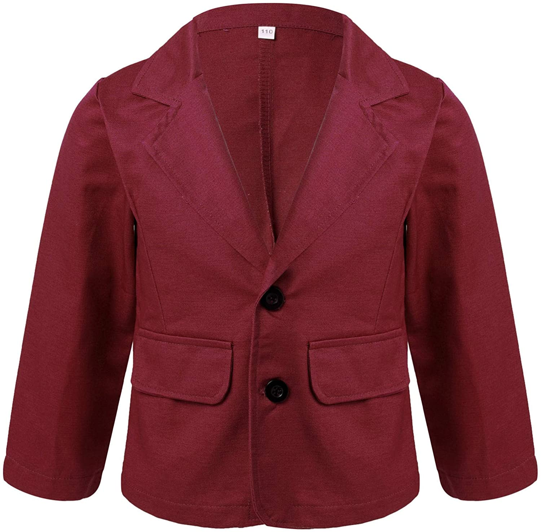 YOOJIA Kids Boys Blazer Button Down Long Sleeve Formal Wedding Suit Jacket School Blazer Top