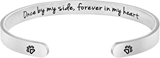 Awegift Pet Sympathy Gifts for Dogs Memorial Jewelry Sympathy Loss of Pet Name Engraved Cuff Bracelet
