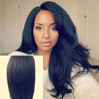 JYL Silk Top Full Lace Glueless Brazilian Human Virgin Hair Italian Yaki Silk Top Glueless Wig Natural Hairline Bleached Knots With Baby Hair Freestyle (16'' Medium Cap, 1)