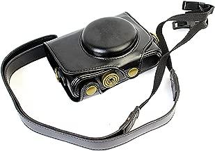CEARI Leather DSLR Camera Case Bag with Neck Strap for Canon Powershot SX720 HS Digital SLR Camera - Black