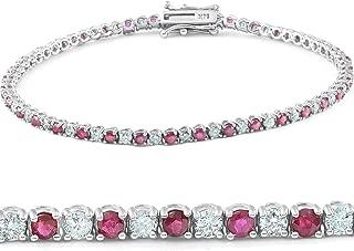 3ct Genuine Ruby & Real Diamond Tennis Bracelet 14K White Gold
