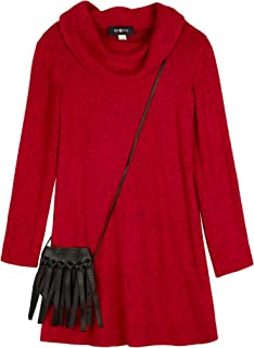 Amy Byer Girls' Cowl Neck Sweater Dress with Purse