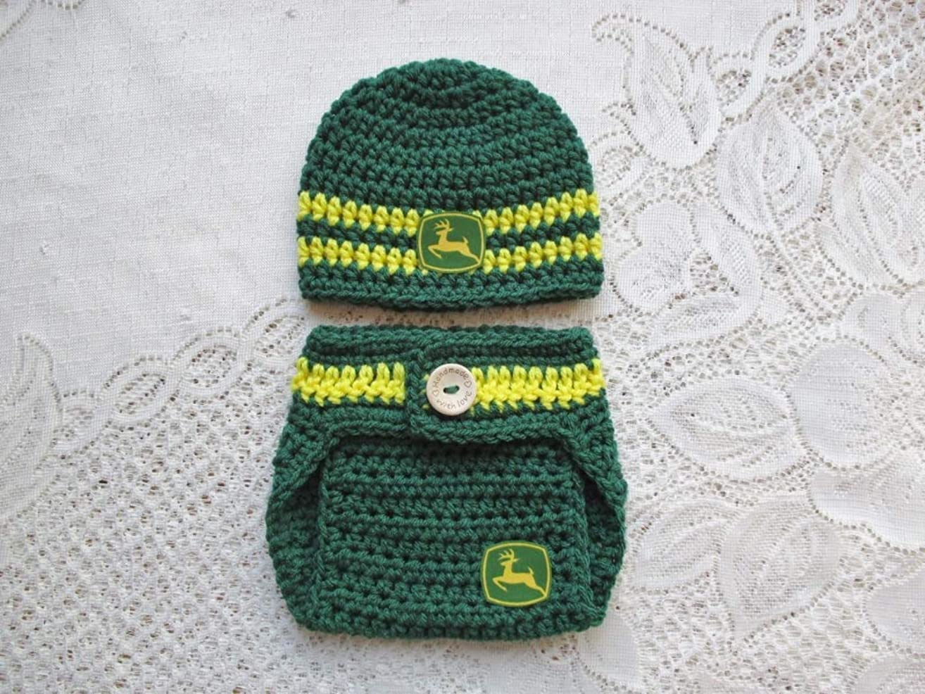 Crochet Baby John Deere Hat and Diaper Cover Set - Baby Photo Prop - Baby Shower Gift - Available in 0 to 6 Months