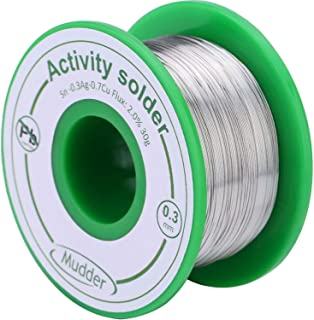 Mudder 0.3 mm Lead Free Solder Wire Sn99 Ag0.3 Cu0.7 with Rosin Core for Electrical Soldering 30 g